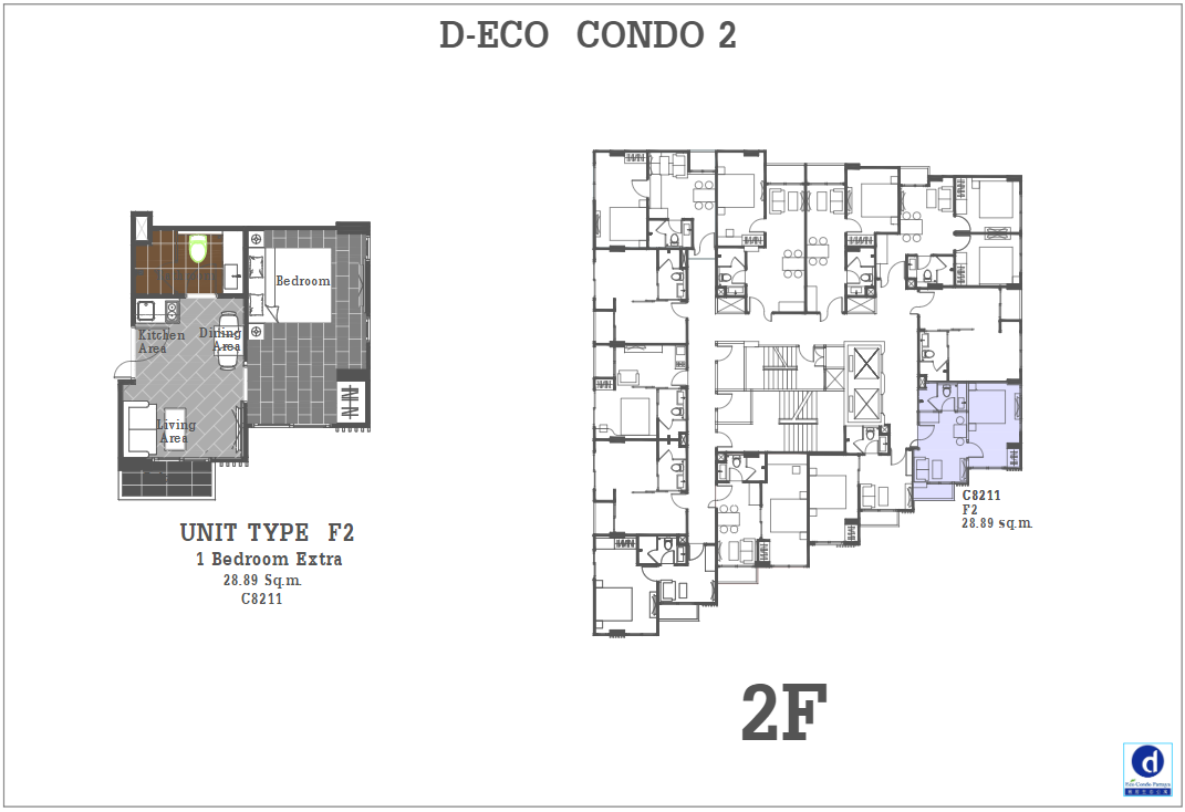 Unit Plan D-eco 2 Condo Pattaya F2